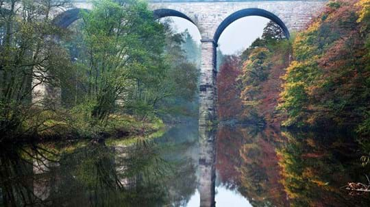 Arched bridge reflected in river, Nidd Gorge