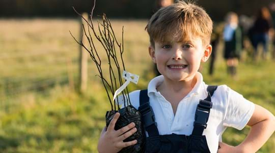 School pupil holding saplings and smiling
