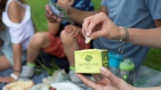 Woman putting a pound into a Woodland Trust donation box at a picnic