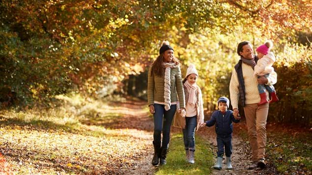family walking in autumn woodland