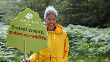 Lady in yellow coat standing in the woods holding protect woods placard