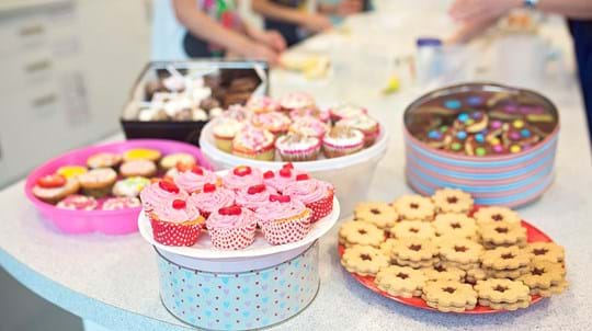 Bake sale with cupcakes and biscuits