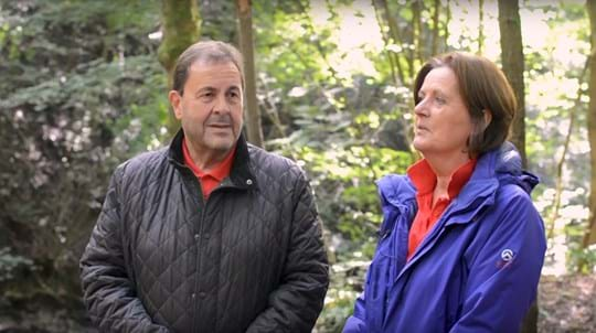 Volunteers Jon & Wendy Leach in a wood talking to camera