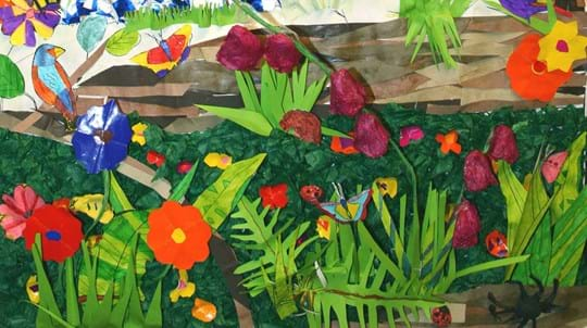 Woodland collage showing flowers and creepy crawlies