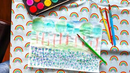 nature painting on rainbow background