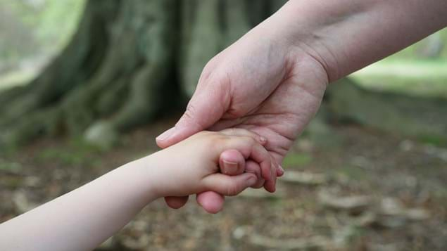 Close up of adult and child holding hands